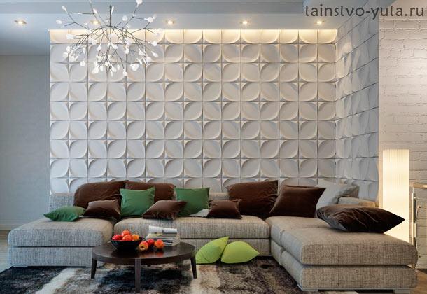 3d стеновые панели на стене над диваном