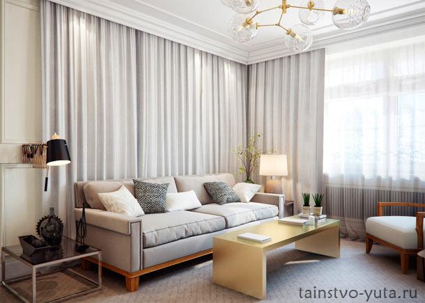 оформление стены над диваном текстилем
