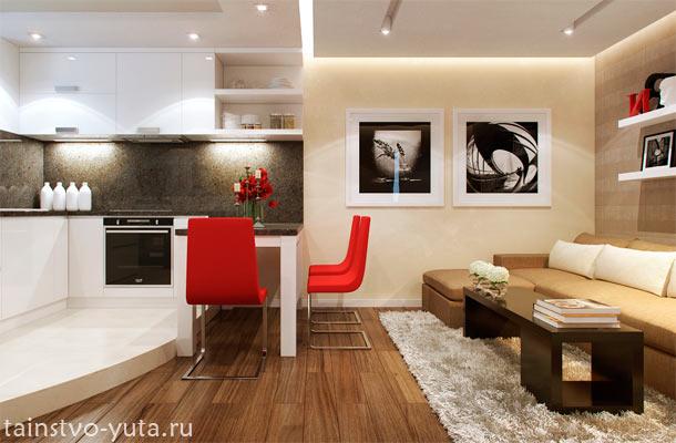 гостиная соединенная с кухней фото