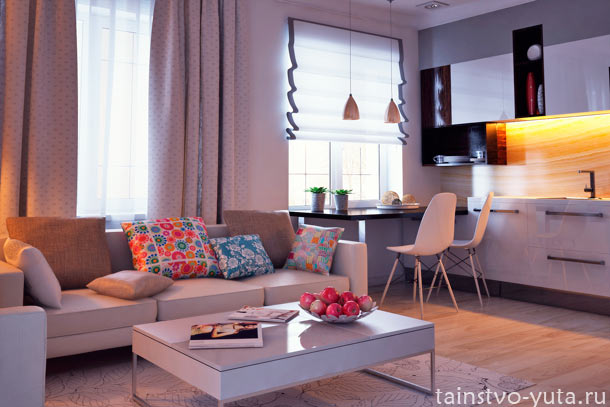 дизайн гостиных совмещенных +с кухней