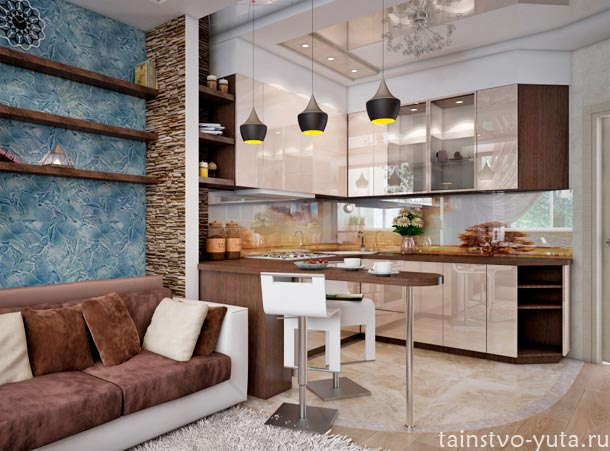 красивые кухни гостиные фото