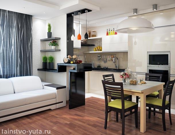 Кухня и гостиная вместе с лоджией.