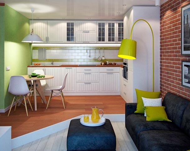 Дизайн объединенной кухни с гостиной