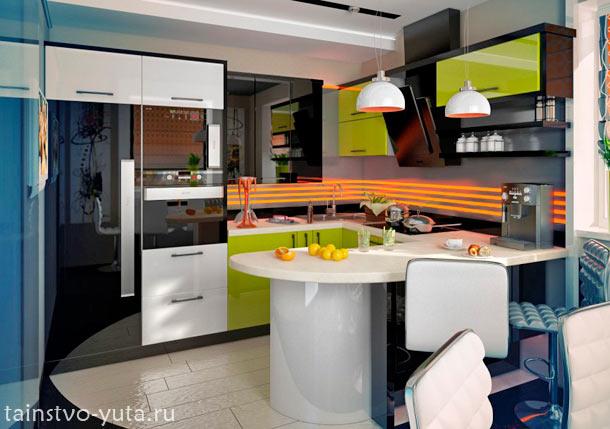 расположение кухонного гарнитура