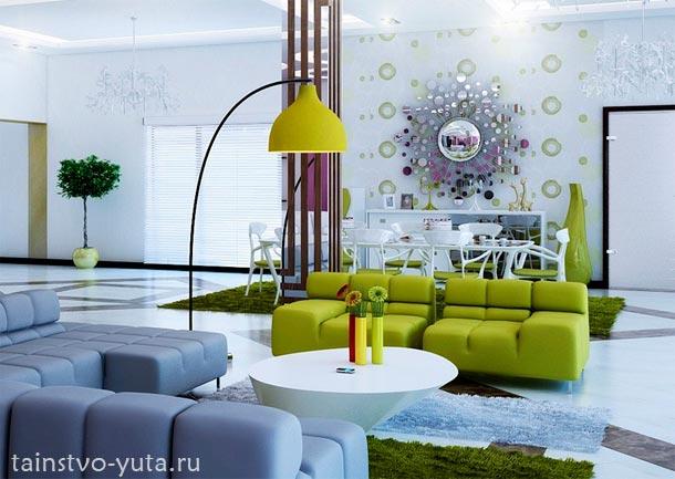 зеленый цвет в современном дизайне интерьера