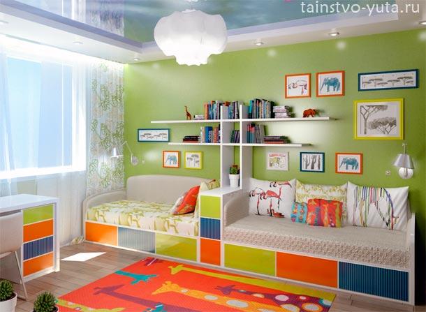 оттенки зеленого в детской комнате