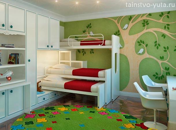 зеленый в интерьере детской