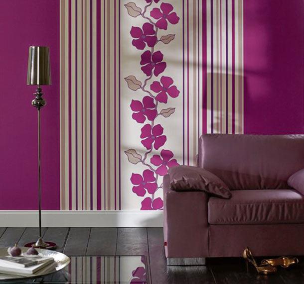 обои цветочный орнамент в интерьере