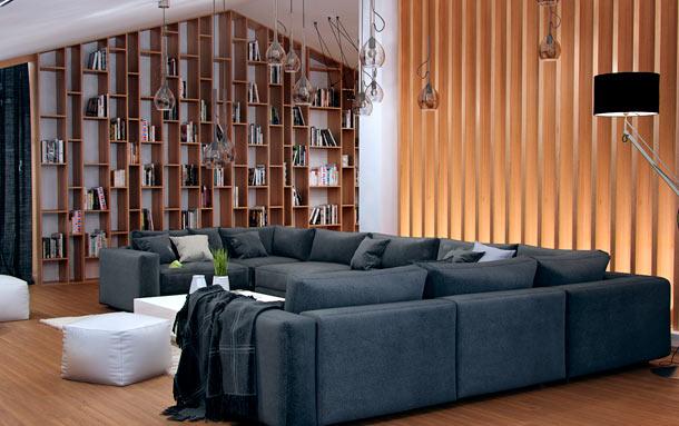 домашняя библиотека в гостиной