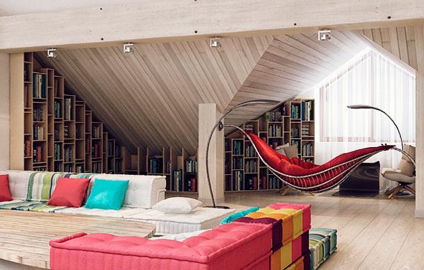 домашняя библиотека в мансарде