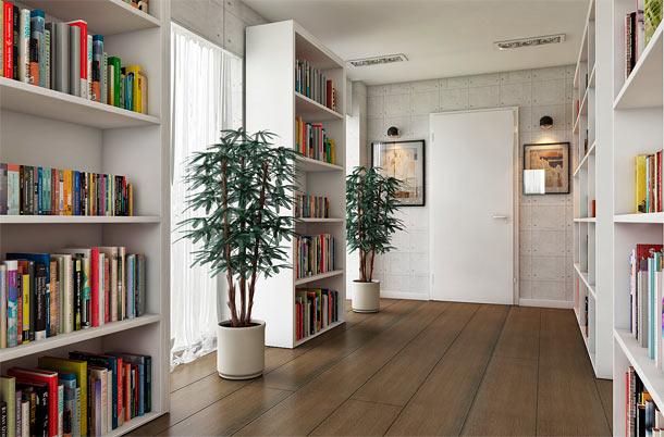 размешение книг в коридоре