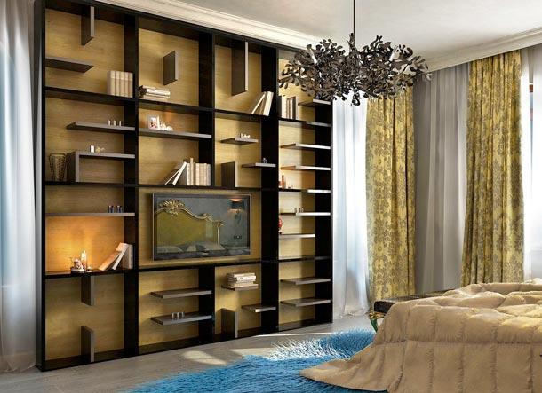 домашняя библиотека в спальне