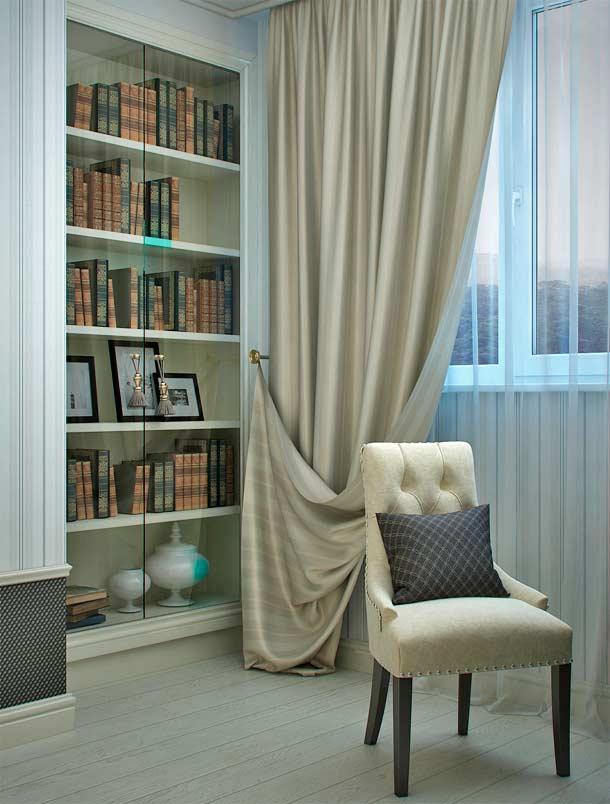 библиотека в интерьере балкона