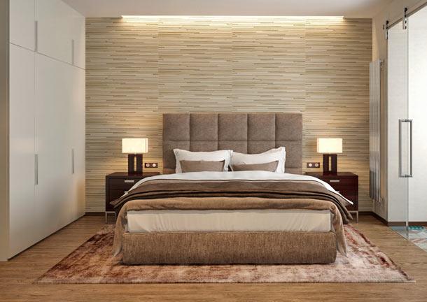 Современная бежевая спальня