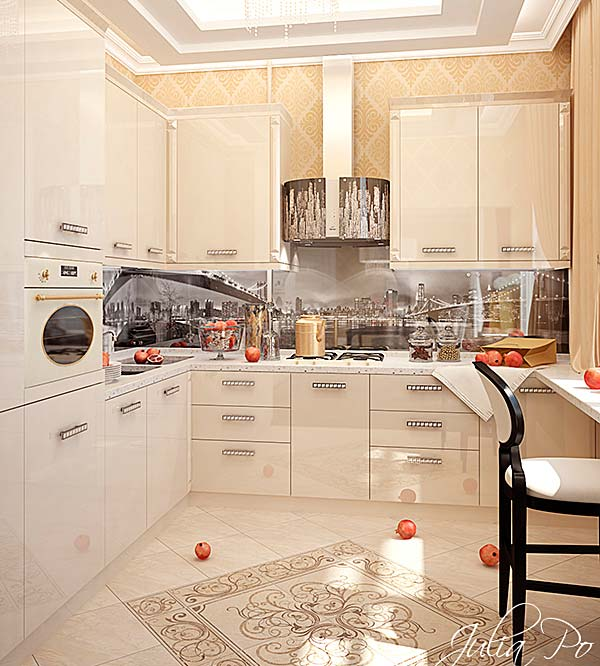 дизайн бежевой кухни
