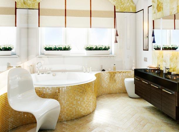 дизайн ванной с золотой плиткой