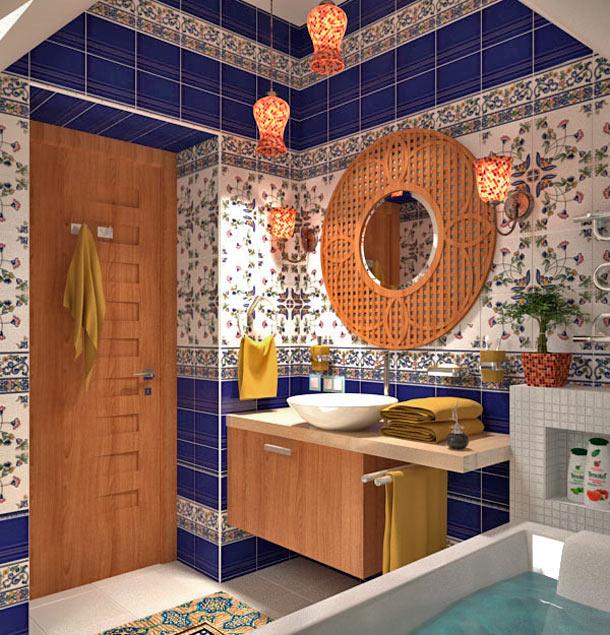 этно стиль в оформлении ванной плиткой