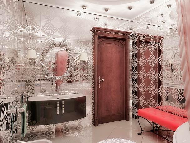 зеркальная плитка в дизайне ванной