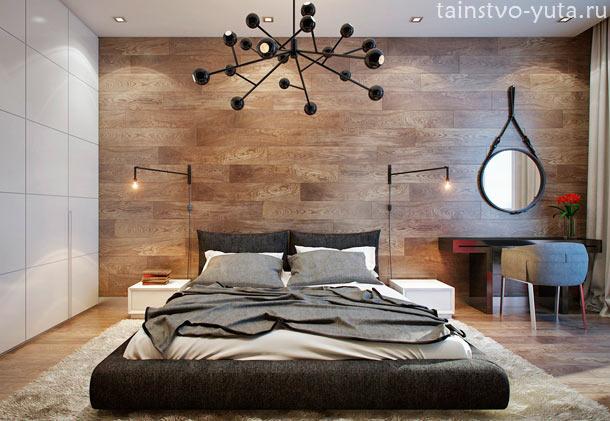 дерево в дизайне спальни