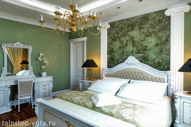 зеленый цвет в спальне фото