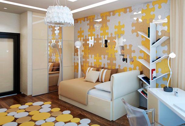 как выделить стену за диваном