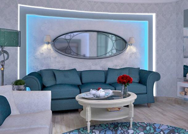 акцентная стена за диваном фото