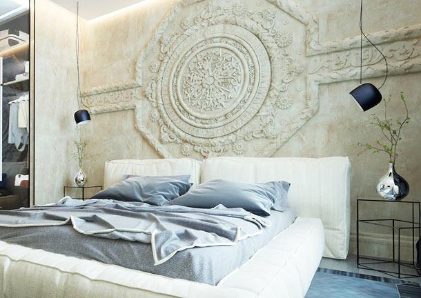 акцентная стена за кроватью
