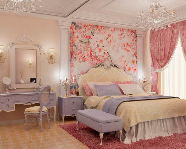 оттенки розового в спальне