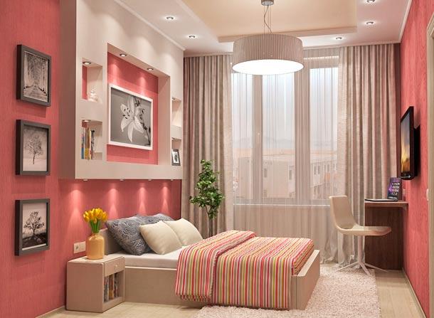 розовая стена в дизайне интерьера
