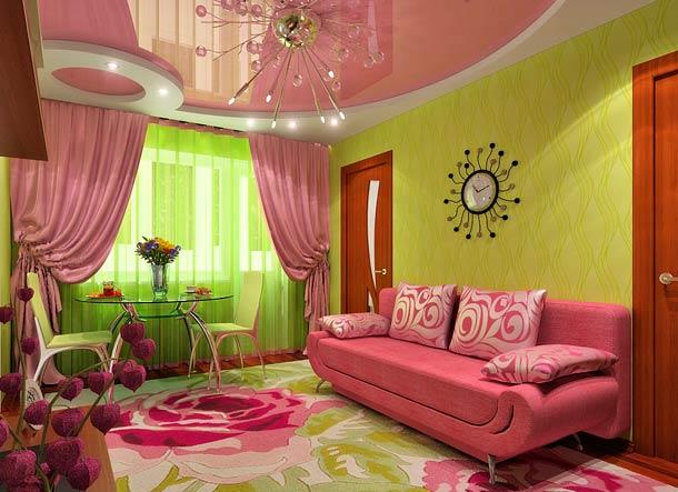 сочетание розового и зеленого в интерьере