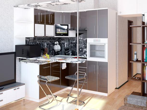 интерьер серой кухни