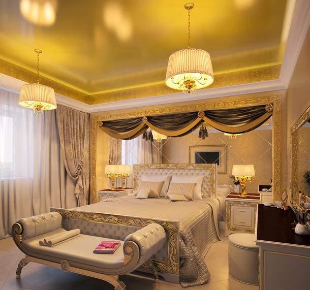 потолок золотого цвета дизайн
