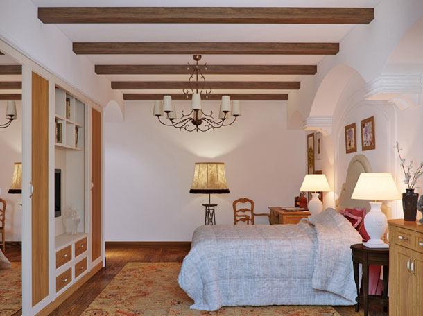 дизайн интерьера с балками на потолке