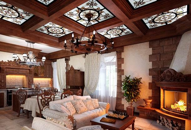 витраж на потолке в интерьере