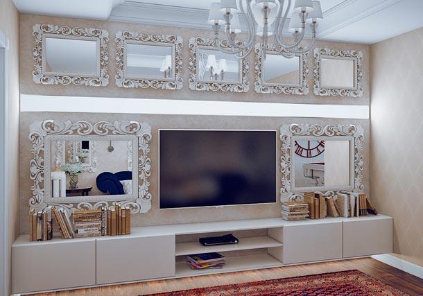 декор стены с телевизором фото