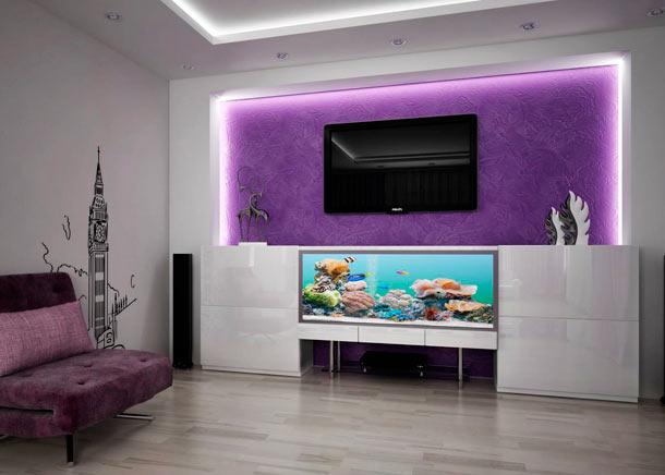 телевизор и аквариум в интерьере