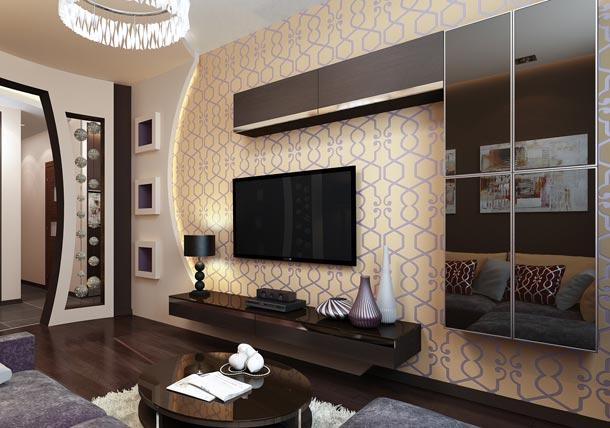 интерьер стены под телевизор