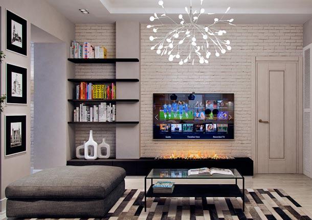 стена за телевизором дизайн