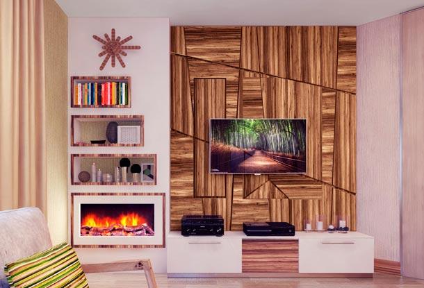 как разместить камин и телевизор на одной стене