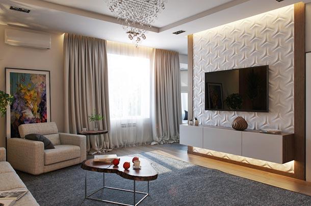 оформление стены с телевизором фото