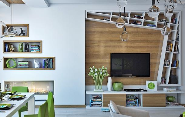 оформление стены с телевизором