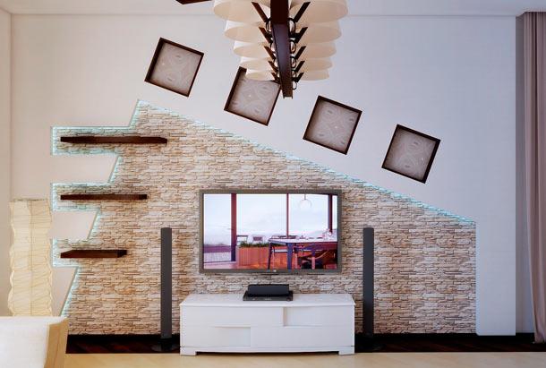 стена с телевизором в интерьере
