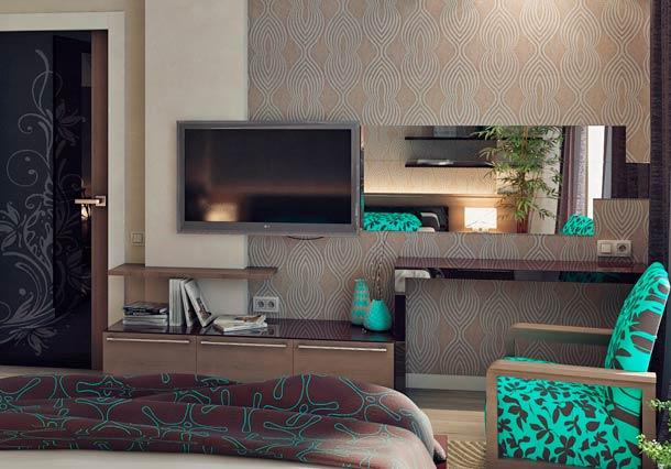 стена с телевизором в спальне