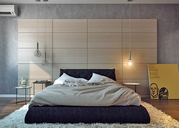 деревянные панели в изголовье кровати
