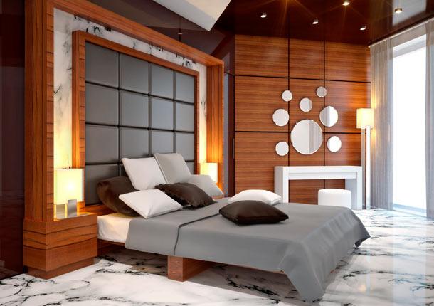 кожанные панели в изголовье кровати