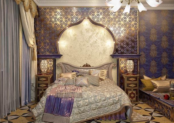 конструкции из гипсокартона на стене за кроватью