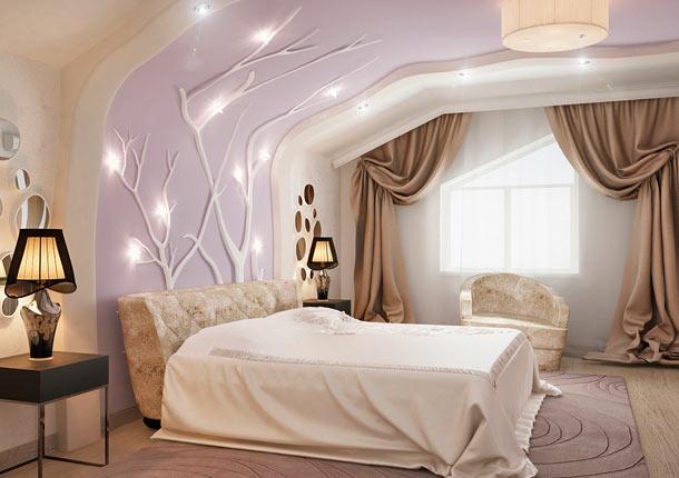 стена возле кровати дизайн