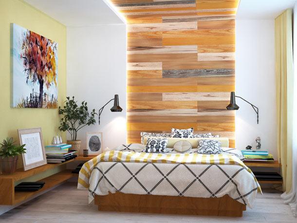 ламинат в оформлении стены за кроватью
