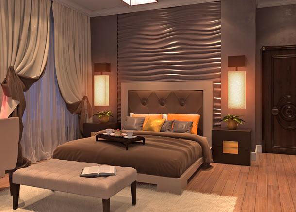 3d панели в изголовье кровати