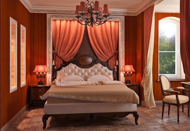 оформление изголовья кровати текстилем